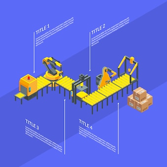 Vector isometric conveyor elements infographics blue illustration
