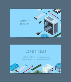 Vector isometric electronic devices business card template