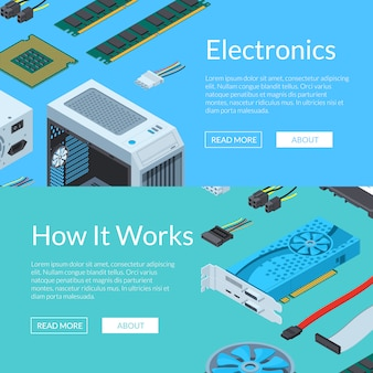 Vector isometric electronic devices horizontal web banner template