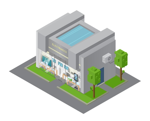 Vector isometric electronics shop building. showcase with devices.