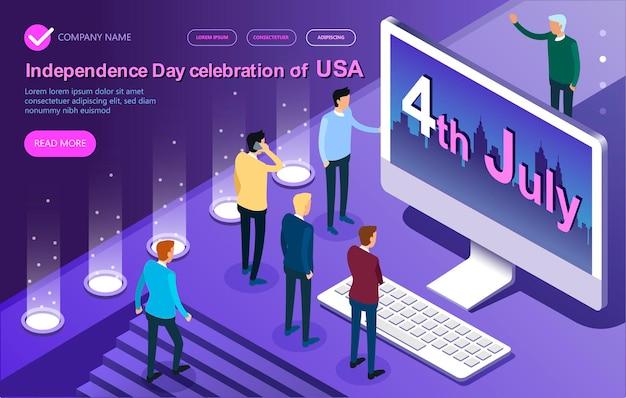 ベクトルアイソメトリック米国の7月の独立記念日の4番目、アイソメトリックベクトルコンセプトバナー、ビジネスマン、デスクトップ、グラフ、統計、高詳細アイソメトリック、ベクトル図