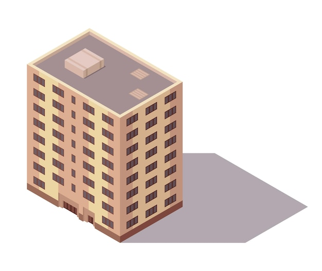 Vector isometric high rise building. city or town map construction element