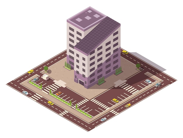 Vector isometric high rise building and street elements with place for parking. city or town map construction element. icon representing multi story building. houses, homes or offices