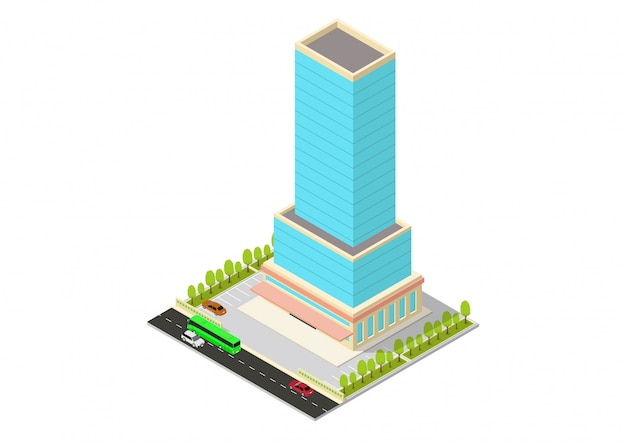 Vector isometric hotel, apartment, office, or skyscraper building