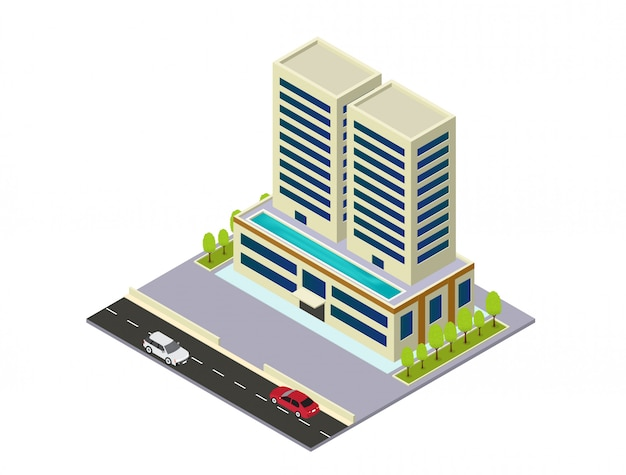 벡터 아이소 메트릭 호텔, 아파트 또는 마천루 건물