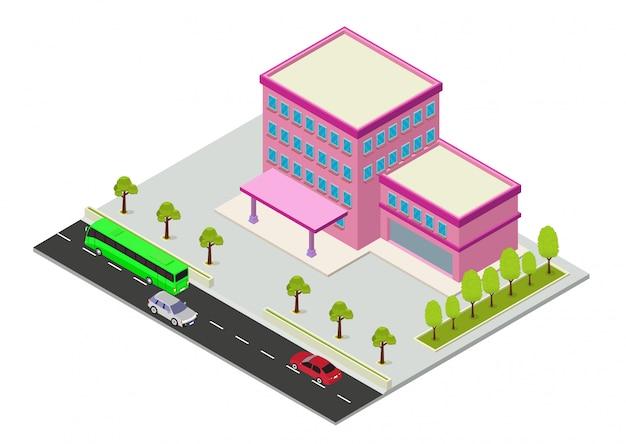 Вектор изометрические отель, квартира или здание небоскреба