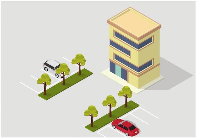 ベクトル等尺性のホテル、アパート、または高層ビル