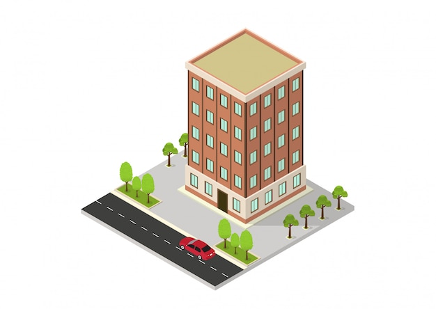 Vector isometric hotel, apartment, school, or skyscraper building