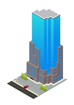 Vector isometric hotel, apartment,or skyscraper building
