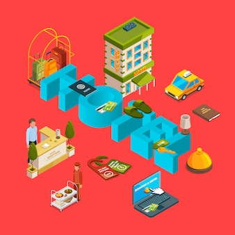 Vector isometric hotel infographic concept illustration