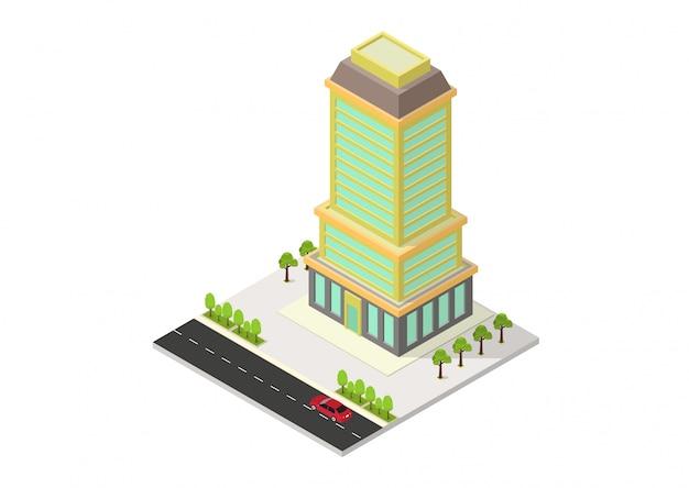 Вектор изометрические отель, офис, квартира или небоскреб здание