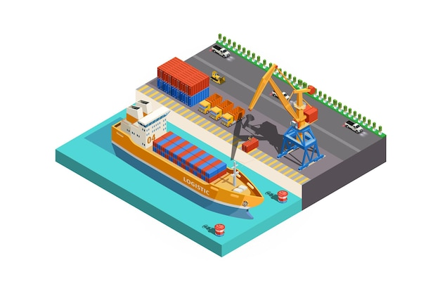 Vector isometric icon or infographic element poly cargo port with cranes