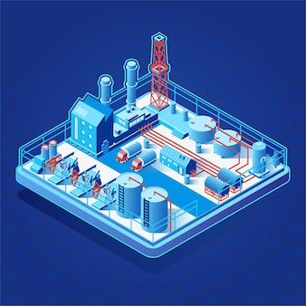 ベクトル等尺性のアイコンまたは油ポンプを持つインフォグラフィック要素