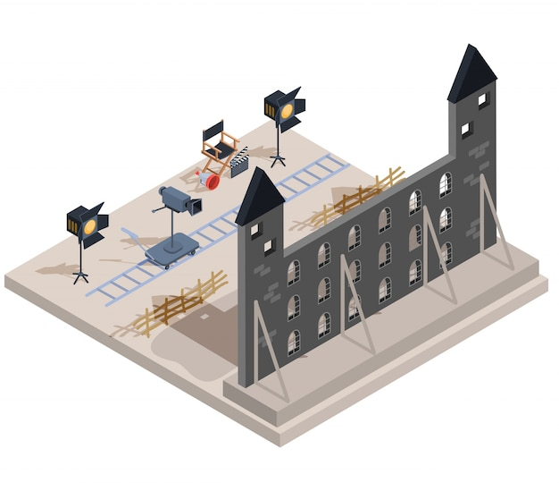 Vector isometric illustration of a film set with a set of filmmaking elements