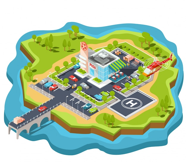 Vector isometric illustration of a modern italian fast food restaurant with parking and helipad.