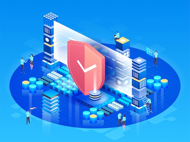 Vector isometric illustration modern technologies, security and data protection, payment security