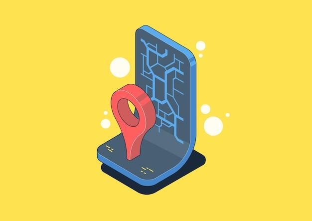 지리적 태그가 있는 지도의 벡터 아이소메트릭 그림입니다. 핀 또는 gps 개념, 앱 아이콘이 있는 탐색 지도. 웹 및 인쇄용 그림입니다.