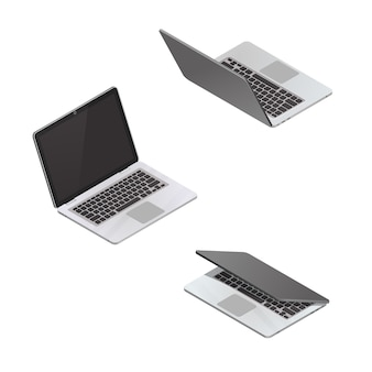 Vector  isometric laptop isolated on white