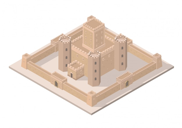 Vector isometric medieval castle