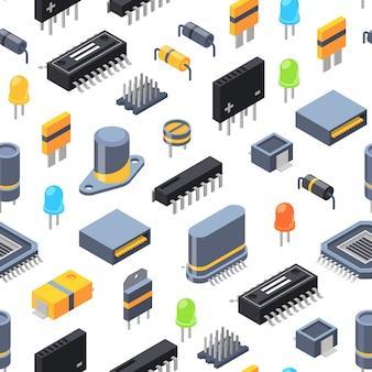 ベクトル等尺性マイクロチップと電子部品のシームレスパターン