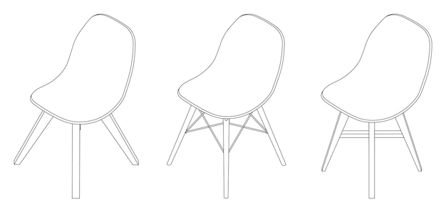 Vector isometric modern chair with plastic seat outline illustration