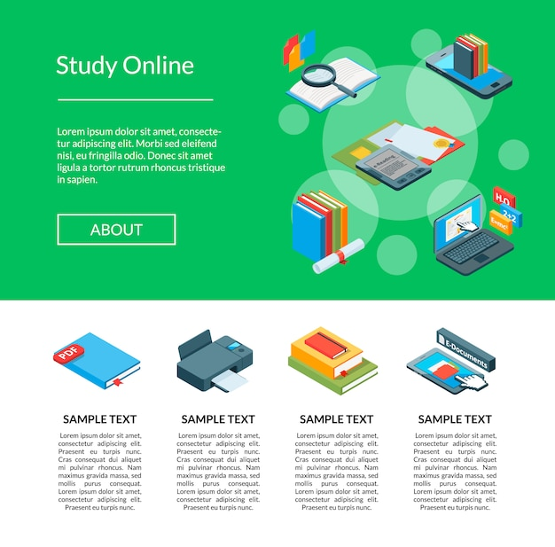 Vector isometric online education landing page template