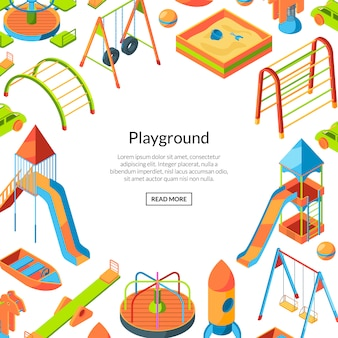 Vector isometric playground objects. happy childhood frame background with text template