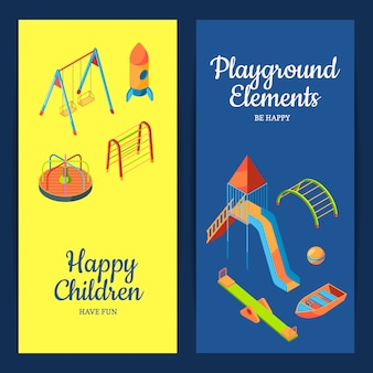 Vector isometric playground objects web banner
