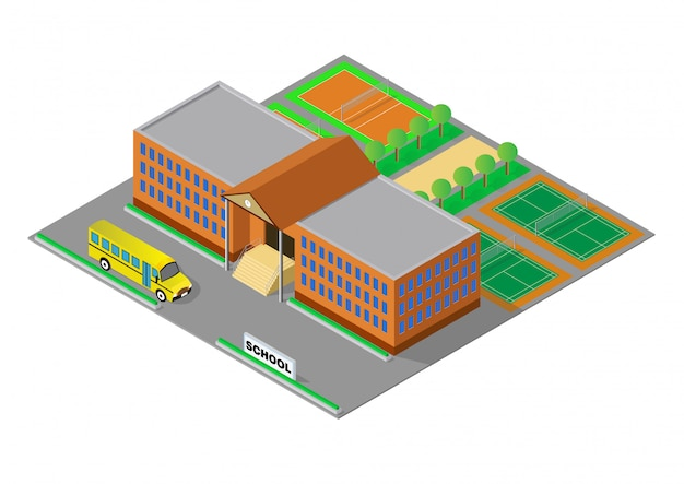 Vector isometric school or university building
