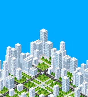 Vector isometric urban architecture building of modern city
