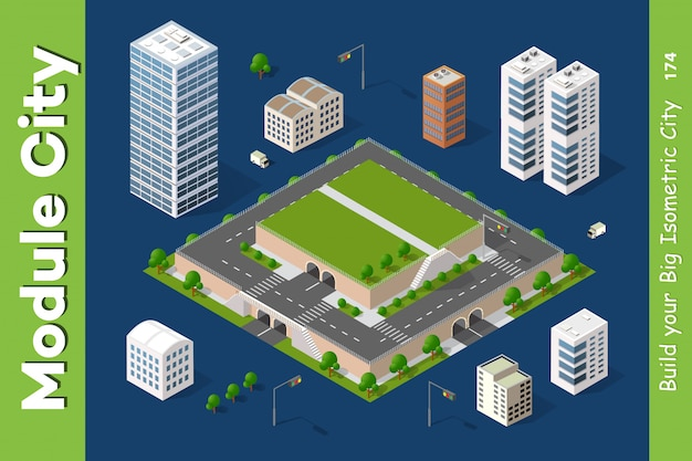 Vector isometric urban architecture