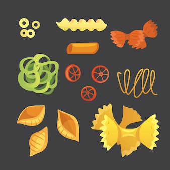 Vector italian pasta in cartoon style. different types and shapes of macaroni with. ravioli, spaghetti, tortiglioni illustration isolated