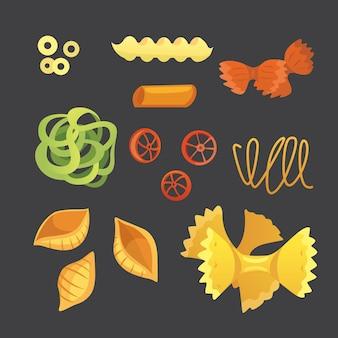 만화 스타일의 벡터 이탈리아 파스타입니다. 마카로니의 종류와 모양이 다릅니다. 라비올리, 스파게티, tortiglioni 그림 절연