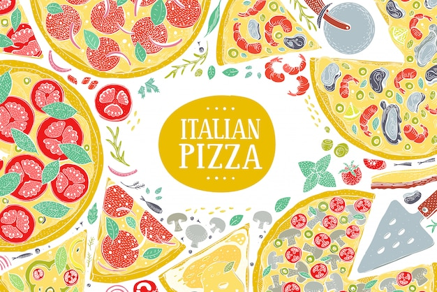 Vector italian pizza top view colorful frame.