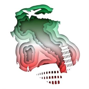 ペーパーアートスタイルでイタリアをベクトルします。デジタルアート