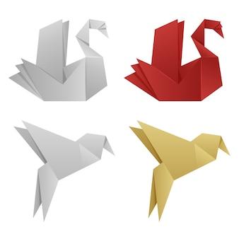 Векторные японские оригами птицы