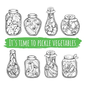 Vector jars of canned vegetables.