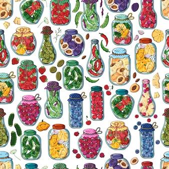 통조림 야채와 과일의 벡터 항아리입니다.
