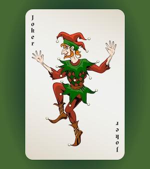 Вектор джокер игральная карта, цветной шут на белом фоне