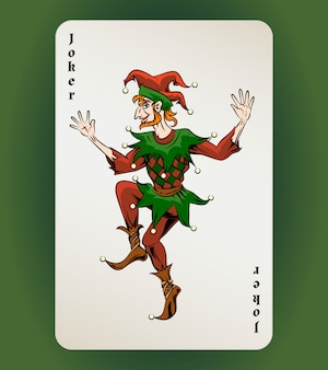 Vector joker playing card, colored jester on white background