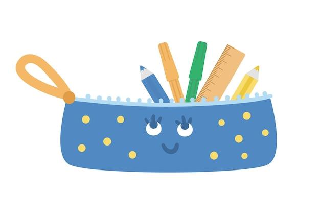 Vector kawaii pencil case illustration. back to school educational clipart
