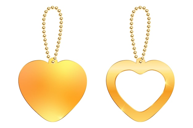 Vector keychain with heart pendant on a gold chain realistic golden necklace bracelet love symbol