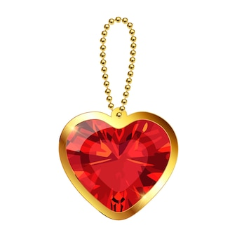 Vector keychain with heart pendant on a gold chain red ruby gemstone golden necklace or bracelet
