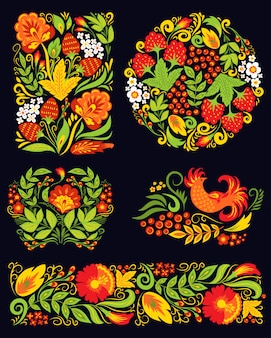 Vector khokhloma pattern design.
