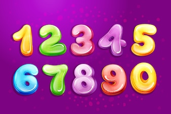 Vector kid numbers bubble cartoon type set