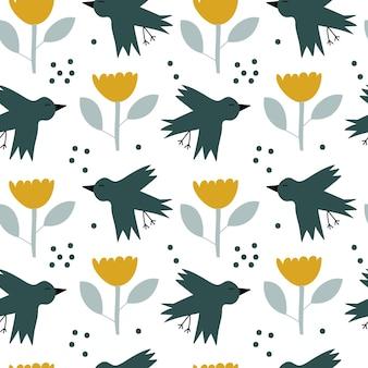 ベビーシャワー、夏のテキスタイルデザインのためのスカンジナビアの鳥と花とベクトルの子供たちのシームレスな背景の春のパターン。北欧の壁紙、塗りつぶし、webページの背景のシンプルなテクスチャ。