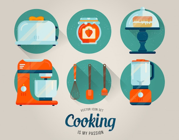 Vector kitchen collection of graphic icons.