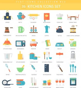 Vector kitchen color flat icon set. elegant style design.