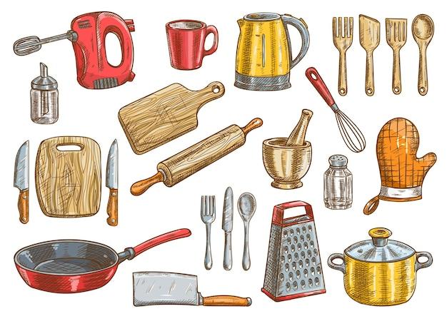 ベクトルキッチンツールセット。台所用品の電化製品は、孤立した要素をベクトル化します。調理器具やカトラリーのクリップアート