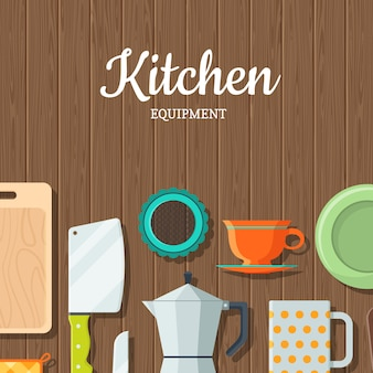 Vector kitchen utensils on wooden texture